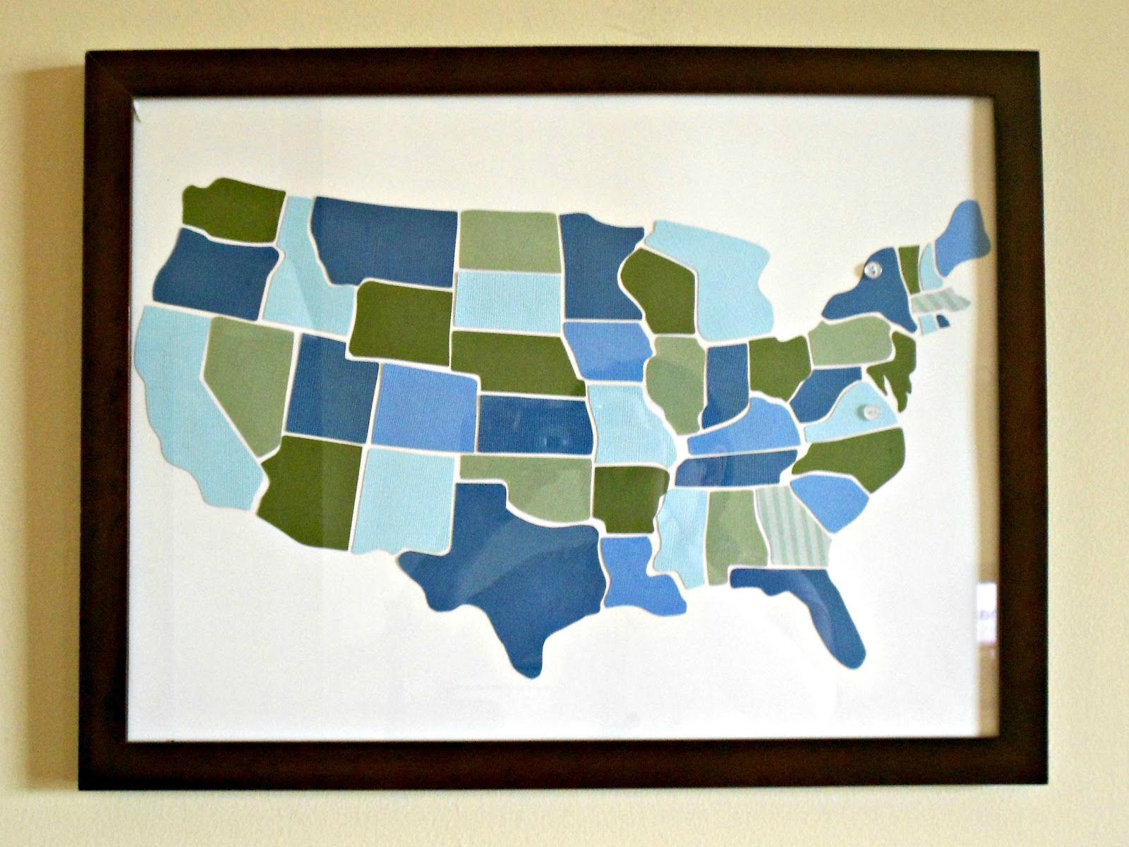 i bought a wooden united states map at toys r us to use as a stencil it was a labor of true love going in that store because i can t fully describe