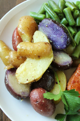 purple, red, yellow fingerling potatoes