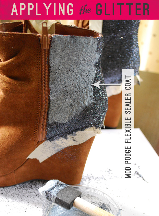 DIY glitter backed boots - application how to