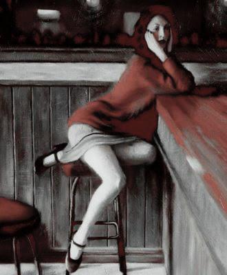 chica sola en la barra del bar