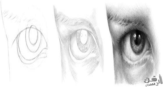 رسم العين بقلم الرصاص والفحم بالخطوات