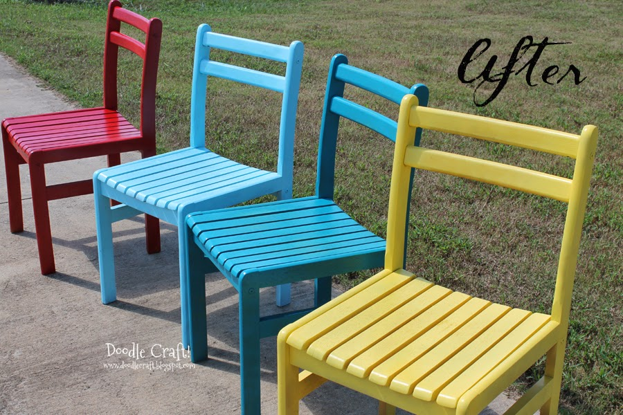 Painted Wooden Chairs Doodlecraft: Colorful Wooden Chairs Redone!