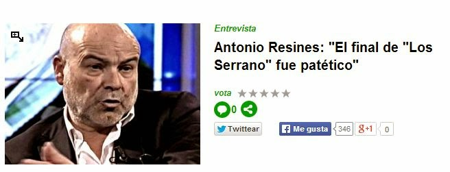 Antonio Resines opina sobre el final de Los Serrano