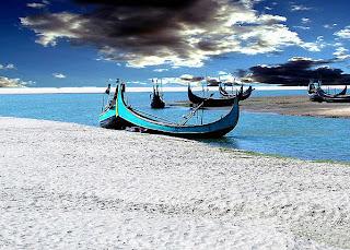 Beautiful fisher boats beside Inani beach