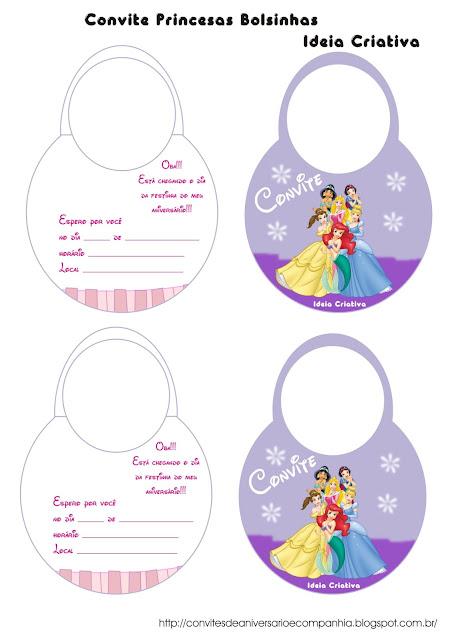 ConviteBolsinha Princesas Disney paras Imprimir Grátis