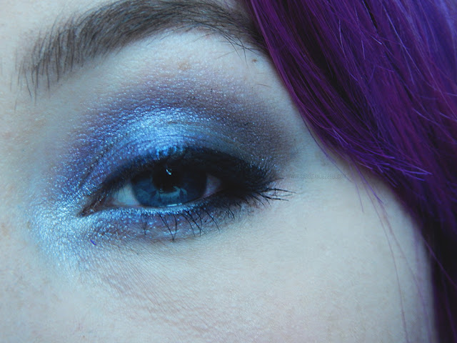Close up of dark smokey eye makeup