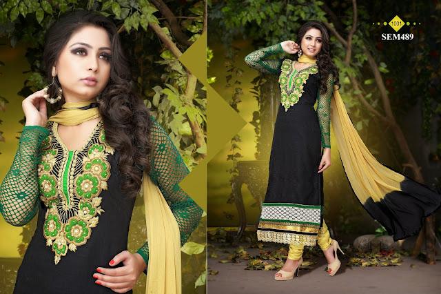 Latest Embroidery Neck Cotton Long Salwar Kameez