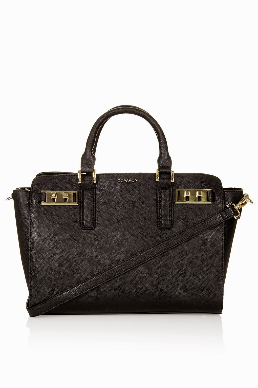 topshop black buckle handbag