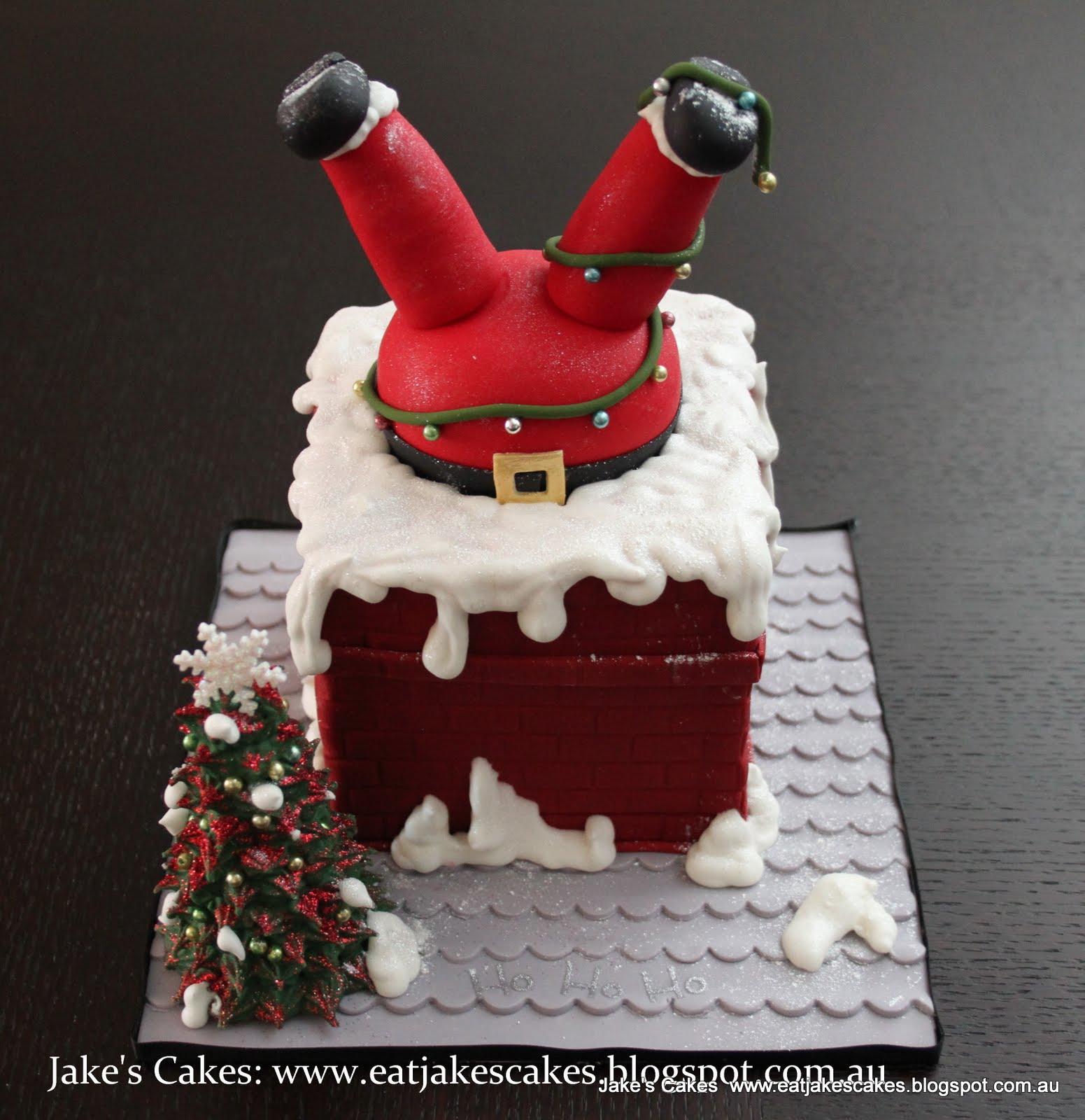 jake 39 s cakes santa stuck in the chimney cake