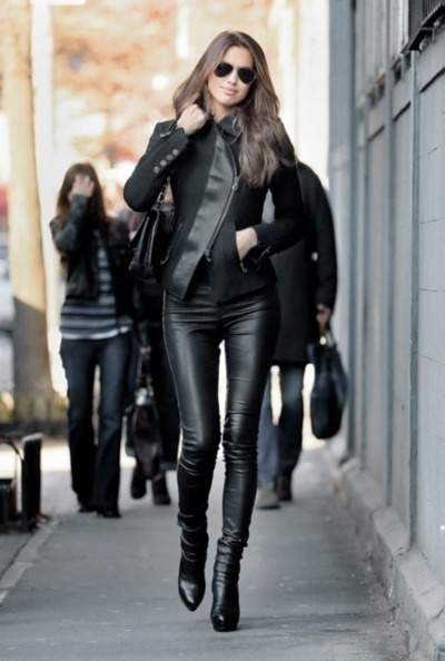 Leather, pants, lady in black