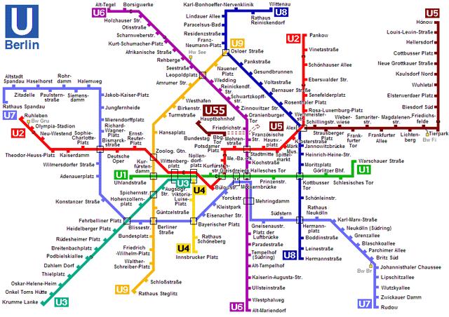 Схема метро берлина с