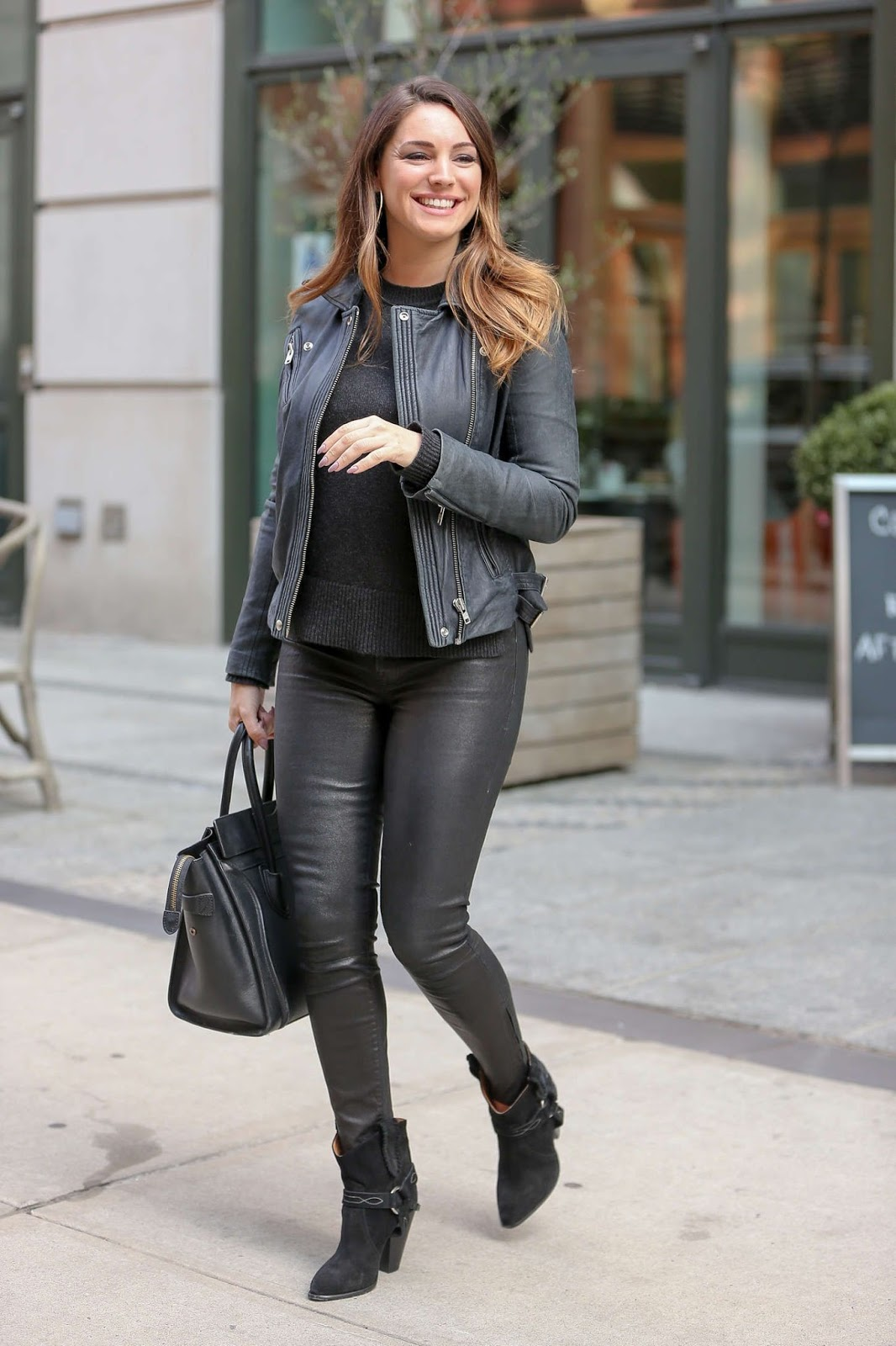 Kelly Brook in Leather Pants in New york city - Kelly Brook 2016