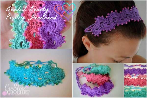 Fiber flux beautiful headbands 16 free crochet patterns beaded beauty paisley headband from cre8tion crochet dt1010fo