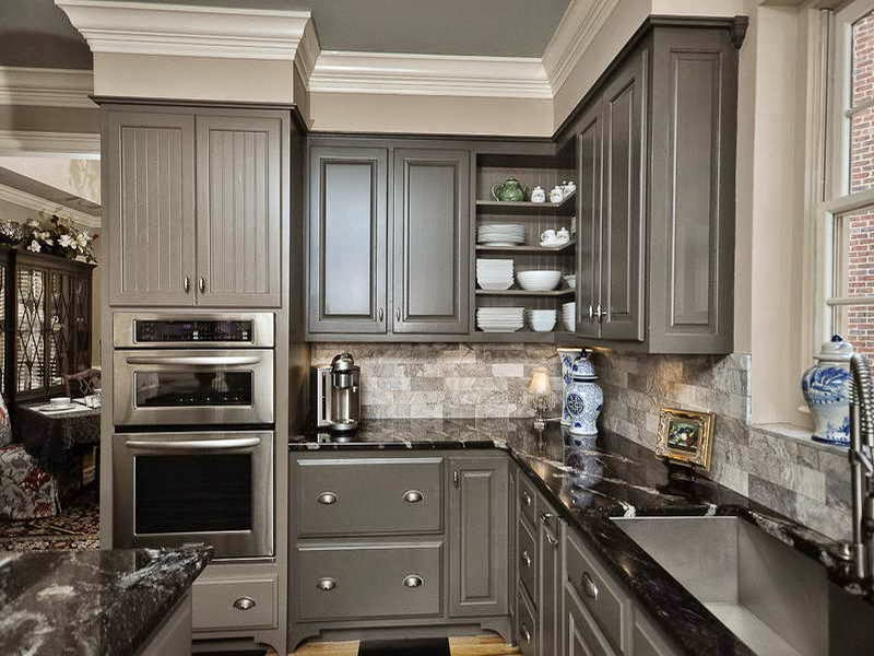 C b i d home decor and design 10 14 for Gray kitchen cabinets with black counter