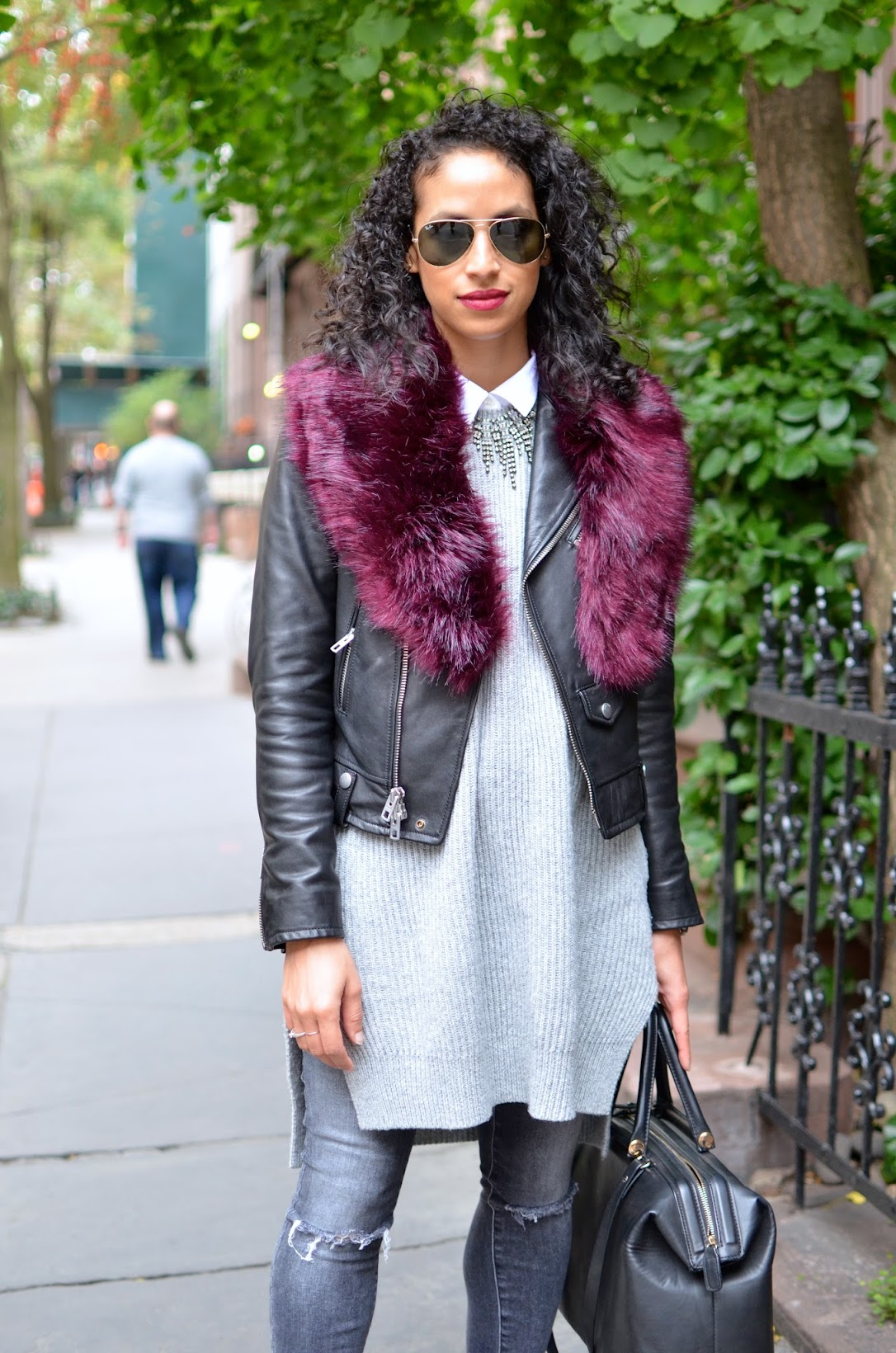 nyc fall style, Fall style, Faux fur stole, Missguided fur stole, what to wear in NYC this fall, all grey style, chic fall style