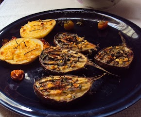 Grilled vegetables: potatoes with rosemary cream and eggplants with chives and olive oil..