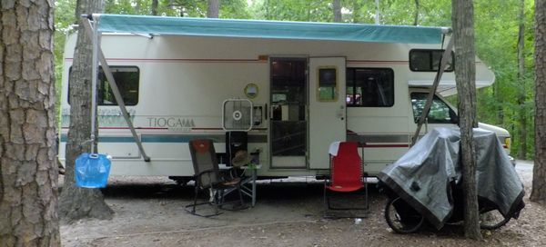 kings mountain state park in south carolina with a 28 foot 1994 tioga montara fleetwood rv class c motorhome