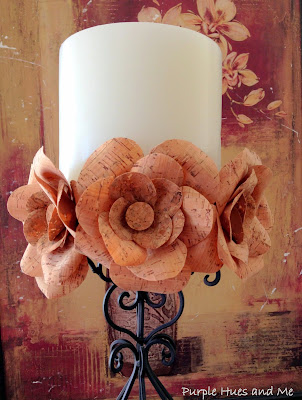 diy cork ribbon flowers candle holder tutorial