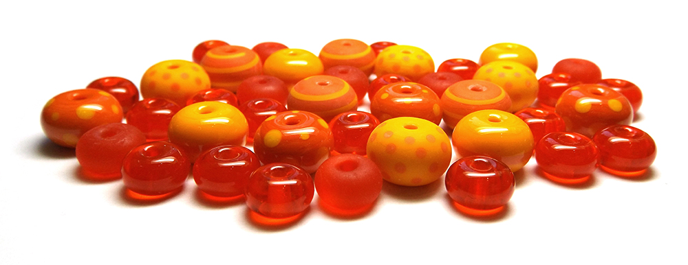 Lampwork glass beads made with CiM Sunset, Daffodil and Bing