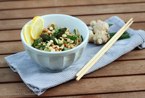 Erdnussdressing, Nudelsalat, Asiatisch, Spargel, Gemüse