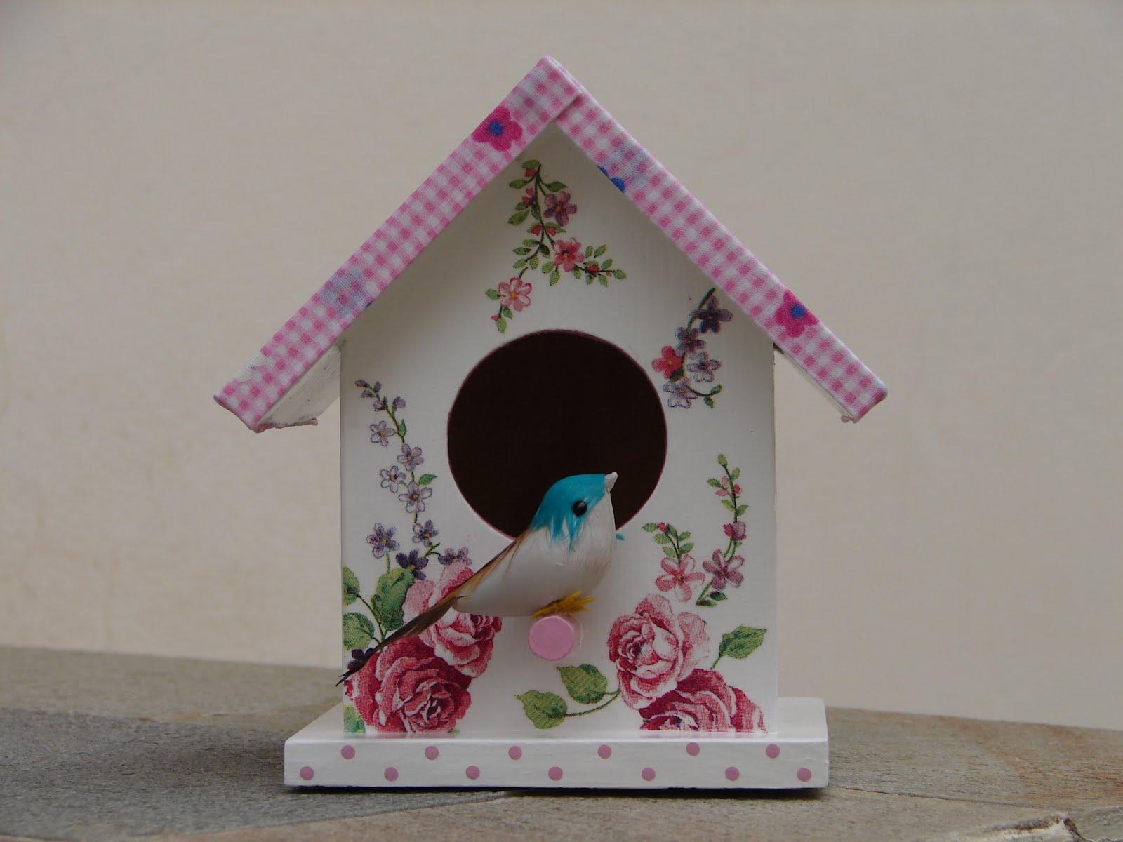 Bell'Arte Arte em madeira e tecido: Casinha de Passarinho Floral  #1B6979 1600x1200