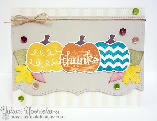 Pumpkin thank you card by Yukari Yoshioka | Pick-a-Pumpkin stamp set by Newton's Nook Designs #newtonsnook #pumpkin