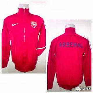 Jaket Bola Arsenal Merah List Lengan Putih