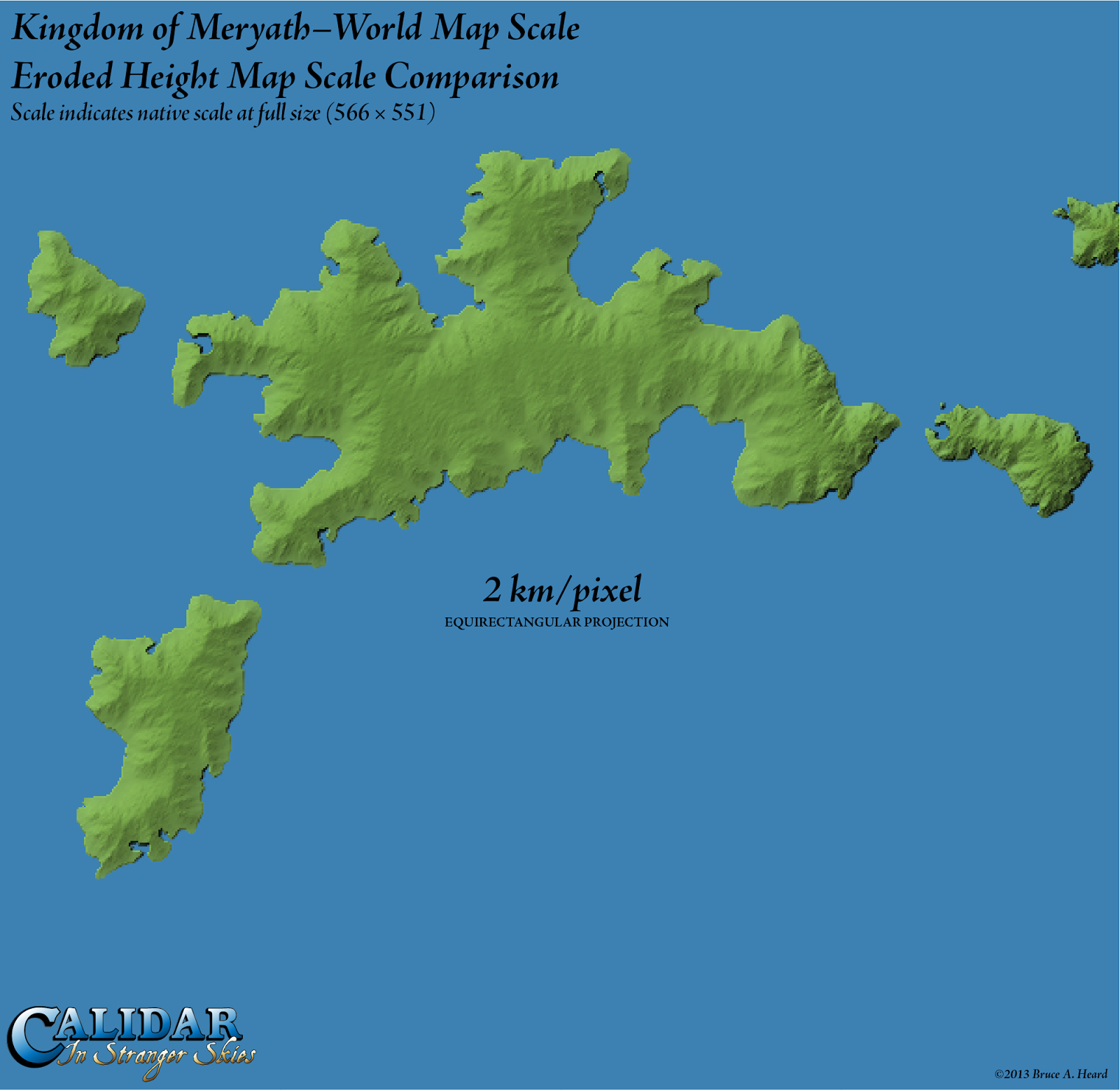 World map with scale in km