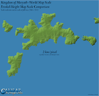 Kingdom of Meryath, Calidar, Eroded Height Map World Map Scale, Stereographic Projection