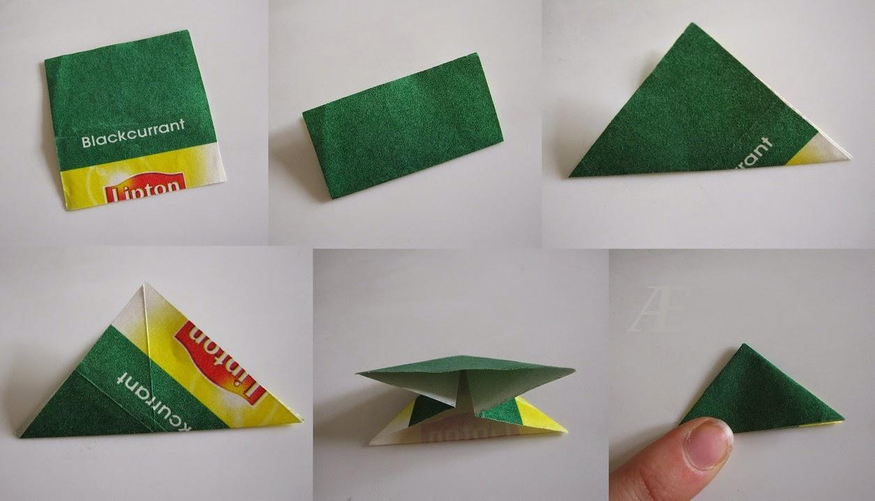 DIY - origami stjerrne foldet af tebreve