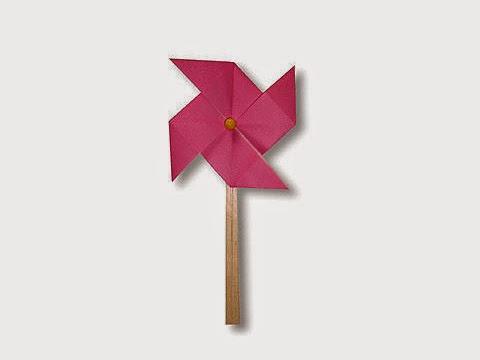 Hướng dẫn cách gấp cái chong chóng quay bằng giấy đơn giản - Xếp hình Origami với Video clip - How to make a Windmill
