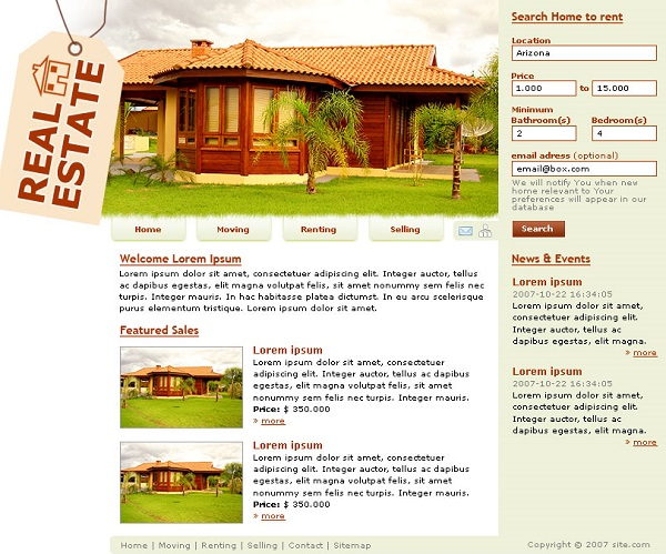 real state web design in photoshop