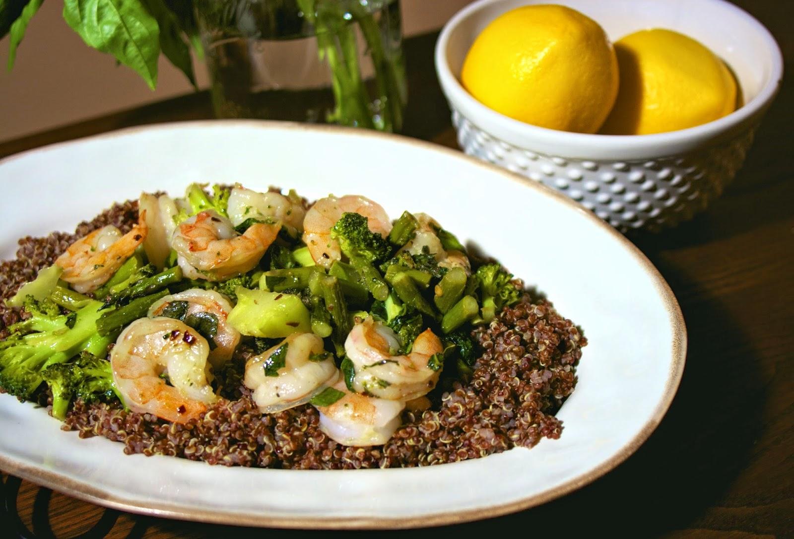 Basil & Shrimp Quinoa: simplelivingeating.com