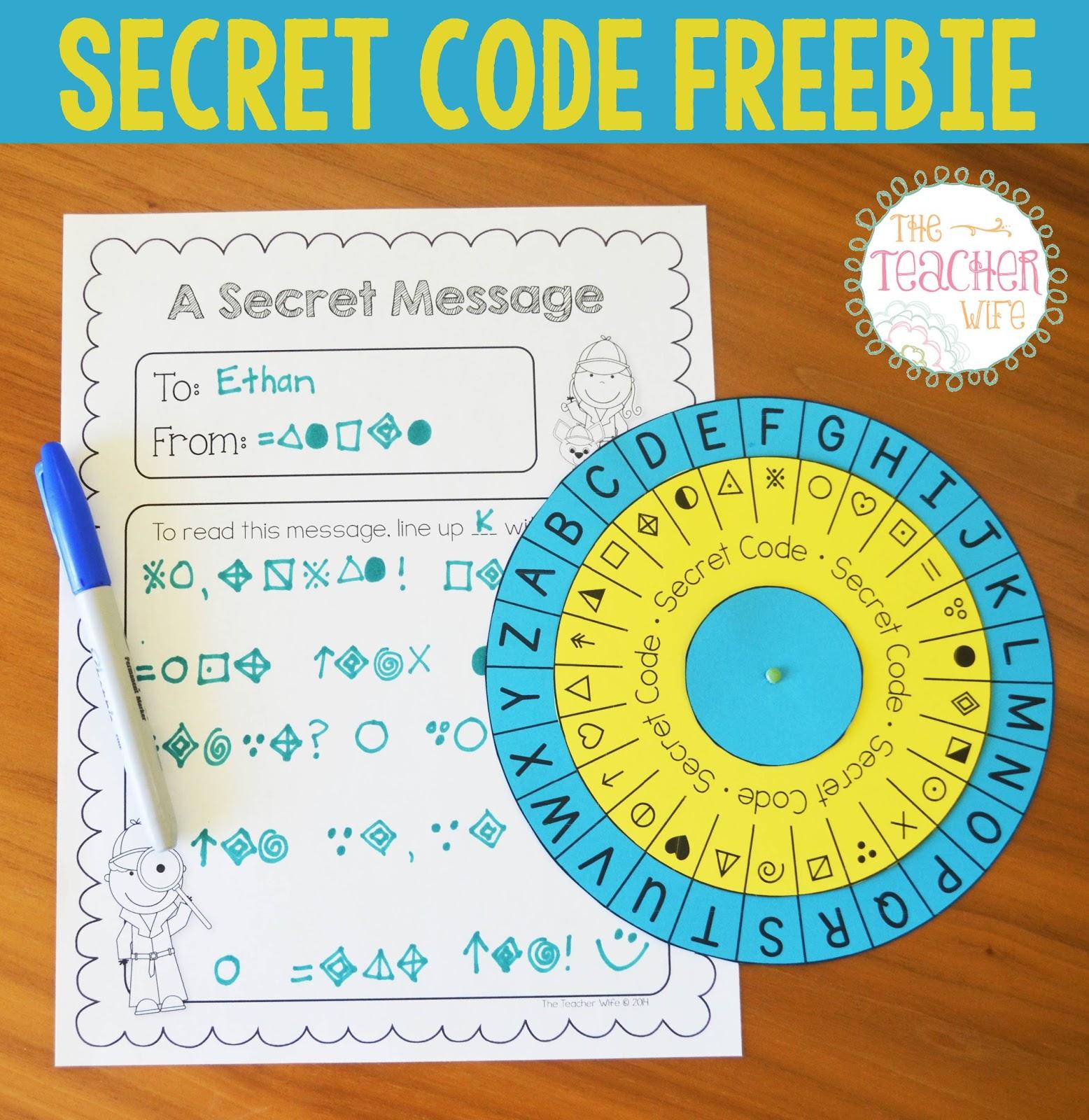 Secret Code Freebie | the teacher wife | Bloglovin\'