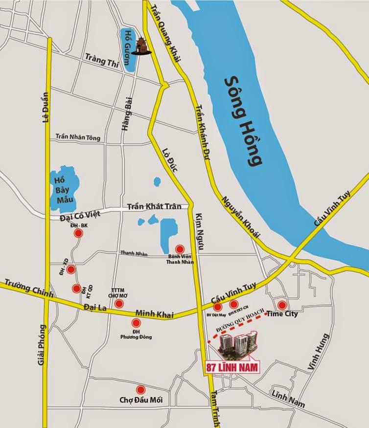 vị trí dự án new horizon city 87 lĩnh nam