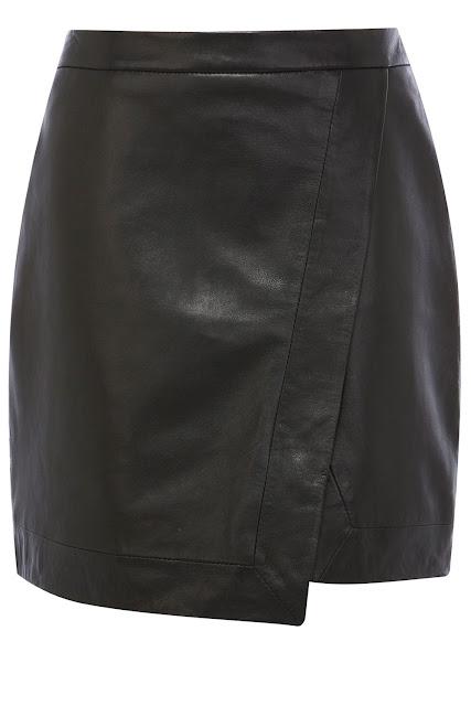 black leather wrap skirt
