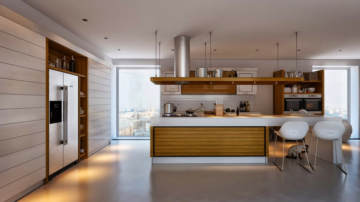 Kitchen with white contrast and wood 2