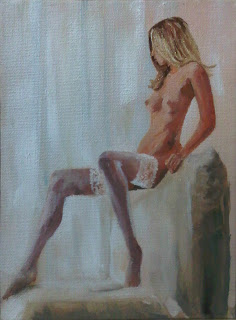 May's Paintng; Small Seated Nude, South African Artist - Stephen Scott