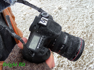 Canon EOS 40D DSLR covered in snow