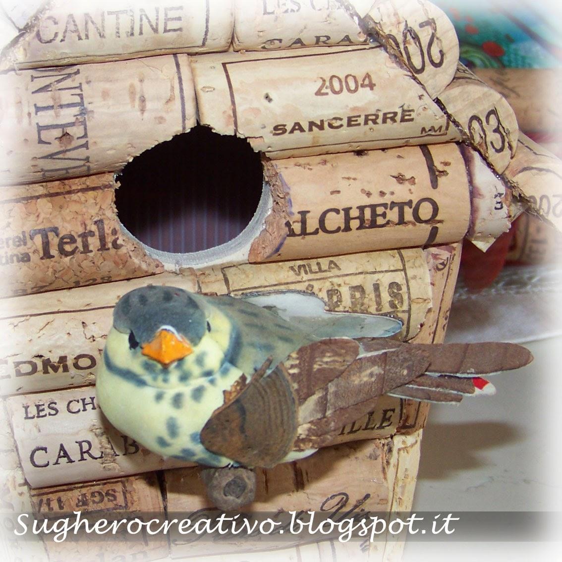 Casetta uccellini per il giardino diy cork bird house for garden