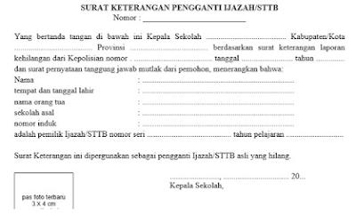 Contoh Surat Keterangan Pengganti Ijazah/STTB