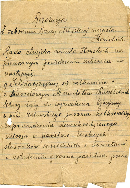 Rezolucja z zebrania Rady Miejskiej miasta Końskich. Końskie, 3 listopada 1944 roku - 1 strona. W kolekcji KW.