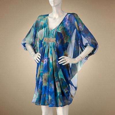 This Gorgeous Jennifer Lopez Fl Chiffon Caftan Dress For Kohl S Is Definitely The Same Number Available In Blue Multi Deep V Neck