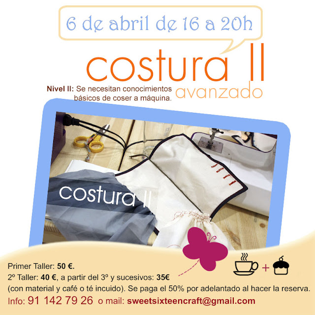 Taller monográfico Costura II en Sweet sixteen craft store Madrid