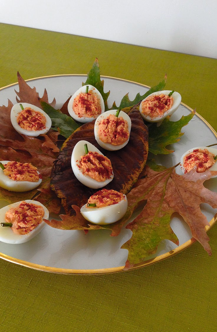 Pumpkin Shaped Deviled Eggs
