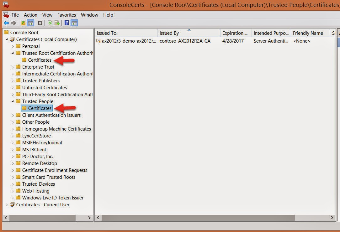 Dynamics ax 2012 r3 mobile apps configuration using self signed import certificate on your computer laptop in the following certificate stores certificates localcomputer trusted root certificate authority and 1betcityfo Image collections