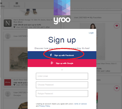 sign up Yroo lewat facebook