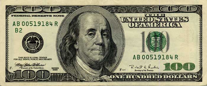 dollar bill sign. old 100 dollar bill back.