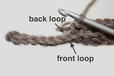 Crocheting In Back Loops Only : in the front loop only you insert your hook through the front loop ...