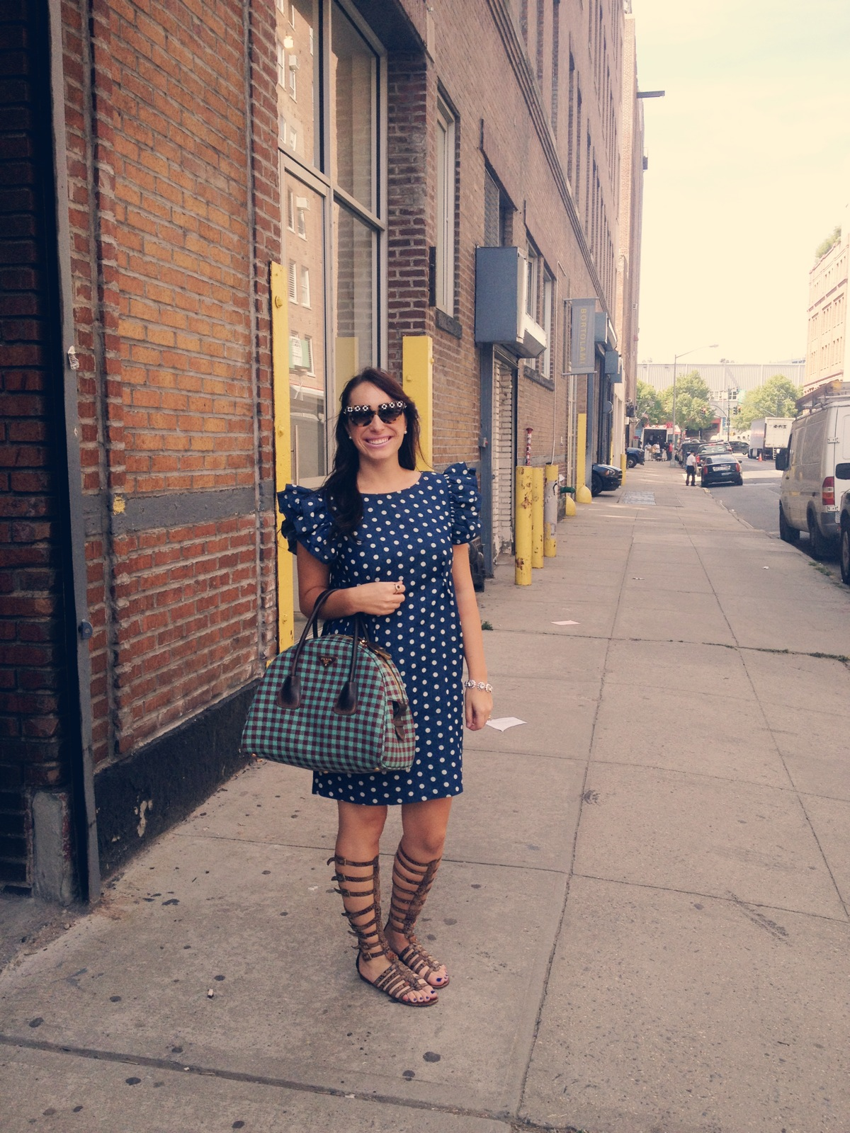 new york fashion week blogger, gladiator sandals, prada, prada bowler bag, prada gingham bag